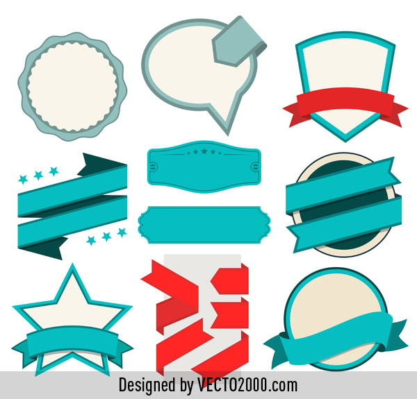 600x575 Vintage Badges, Labels And Ribbons Free Vector