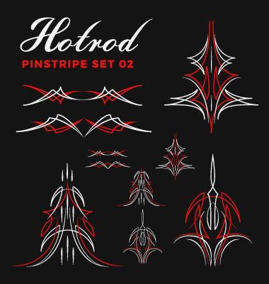 380x400 Hotrod Pinstripe Vector Illustration Set 02 Free Download