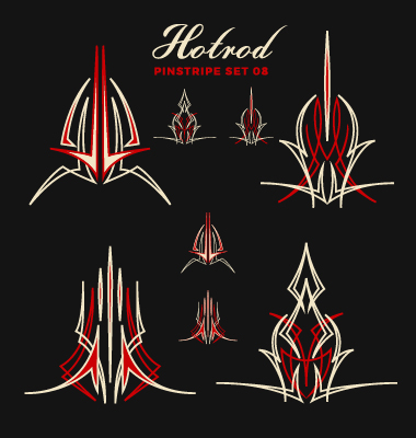 380x400 Hotrod Pinstripe Vector Illustration Set 08 Free Download