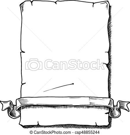 450x467 Drawn Scroll Vector Art