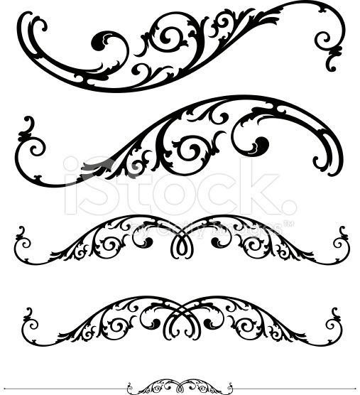507x556 Set Of Ornate Scrolls And Ruledesign Vector Art, Royalty And Free