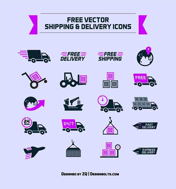 600x644 Free Shipping Amp Delivery Vector Icon Set