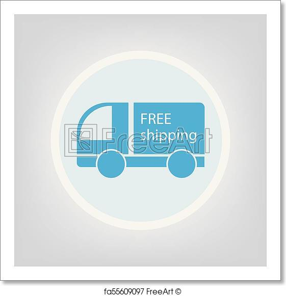 561x581 Free Art Print Of Free Shipping Icon. Free Shipping Icon Vector