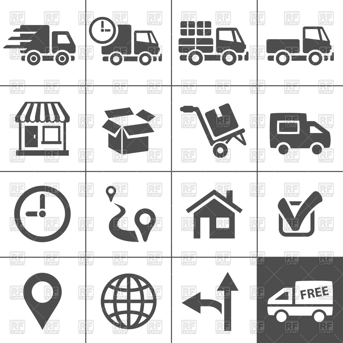 1200x1200 Logistic, Delivery And Transportation Icons Vector Image Vector