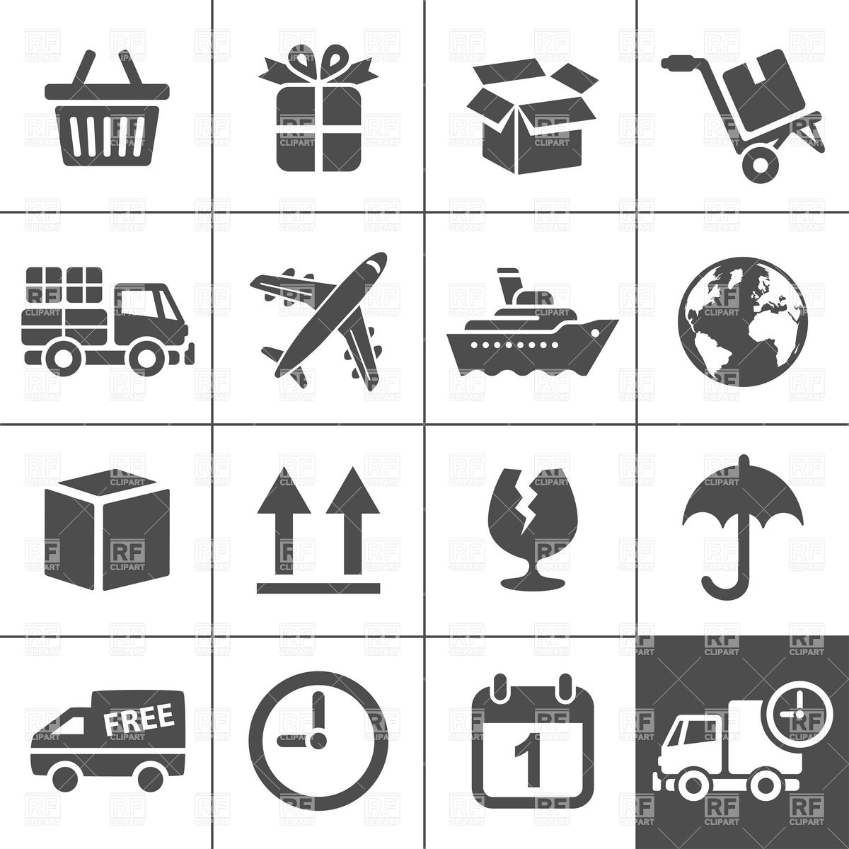 1200x1200 Logistics, Transportation And Delivery Icons Vector Image Vector