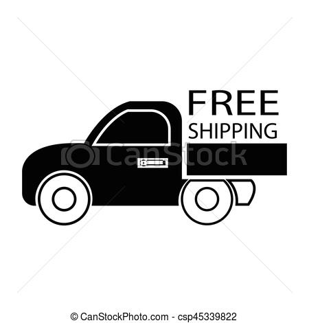 450x470 Simple Flat Black Free Shipping Car Icon Vector.