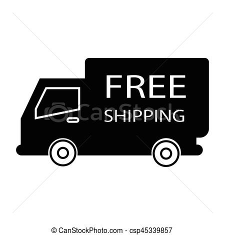 450x470 Simple Flat Black Free Shipping Truck Box Icon Vector.