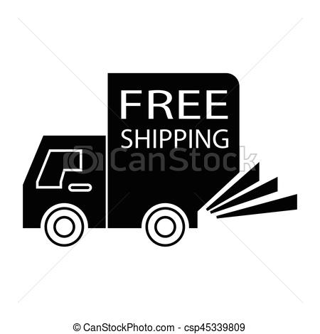 450x470 Simple Flat Black Free Shipping Truck Small Icon Vector.