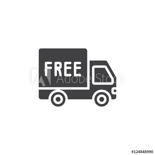 500x500 Free Shipping Symbol, Truck Icon Vector, Filled Flat Sign, Solid