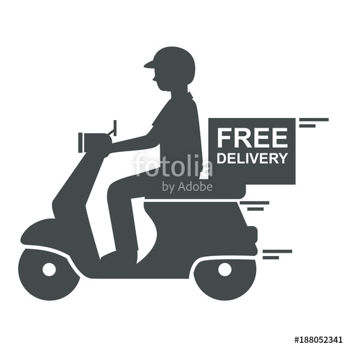 500x500 Delivery Man Riding Scooter Icon With Text Free Delivery, Vector