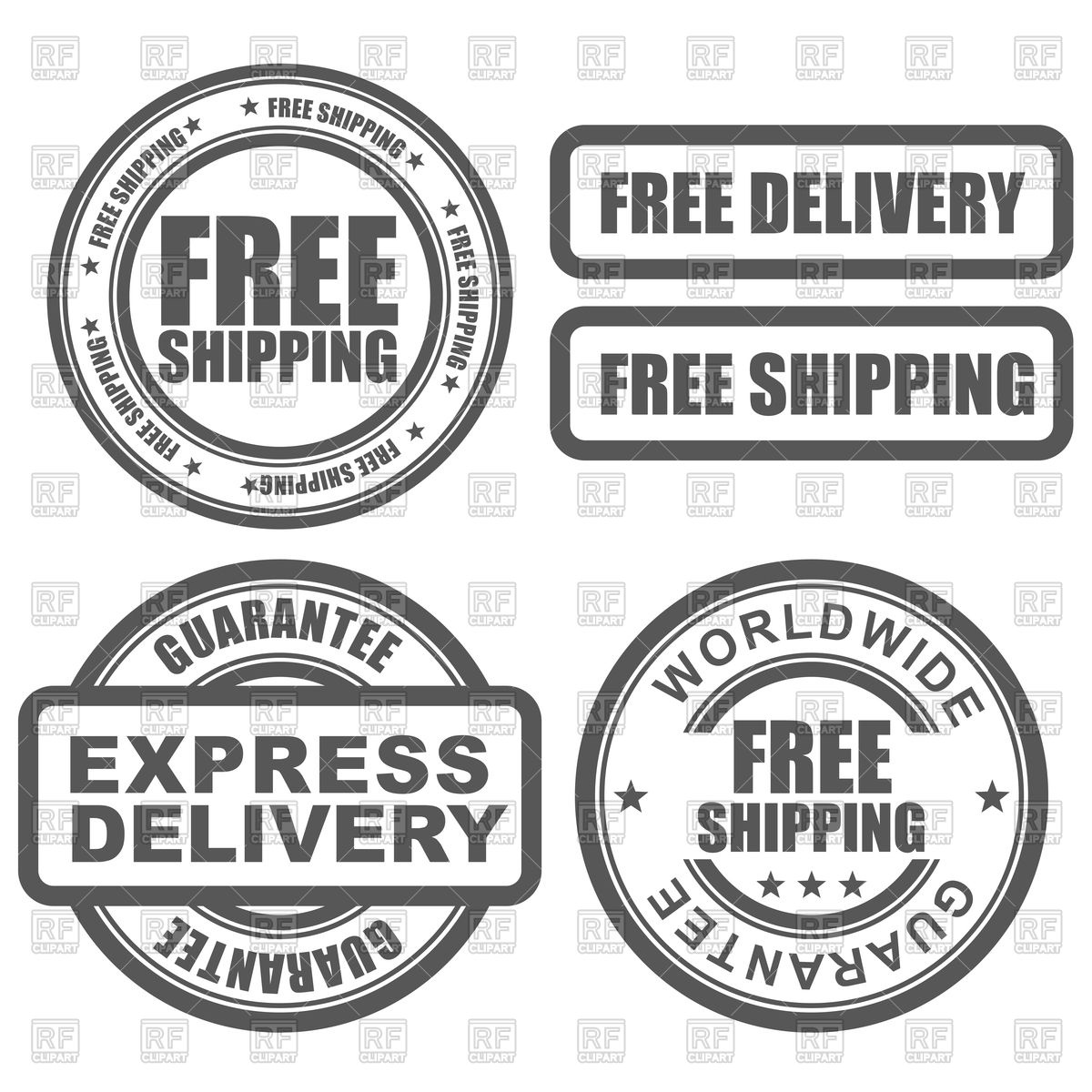 1200x1200 Express Delivery And Free Worldwide Shipping Stamps Vector Image