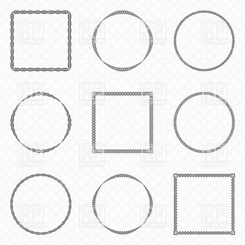 480x480 Simple Round And Square Frames Vector Image Vector Artwork Of