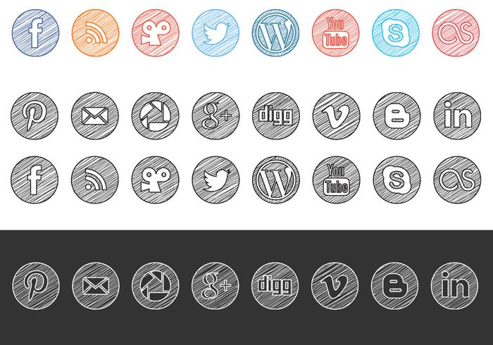 700x490 Sketchy Drawn Social Media Icons Vector Pack