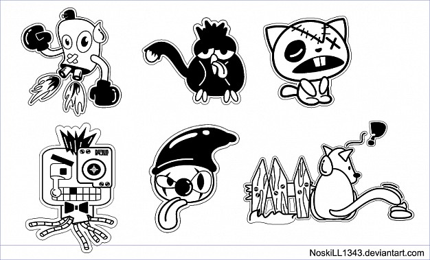 626x379 Five Free For Use Vector Cartoon Characters Great For T Shirt