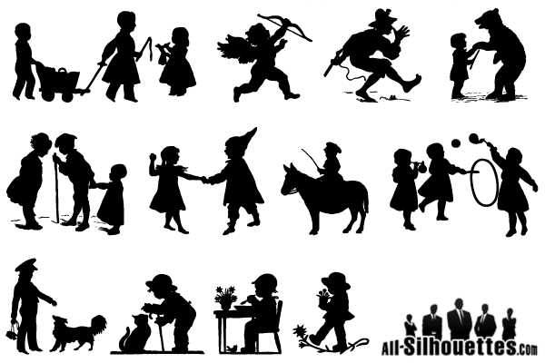 600x400 Children Playing Silhouettes Vector Free Free Vectors