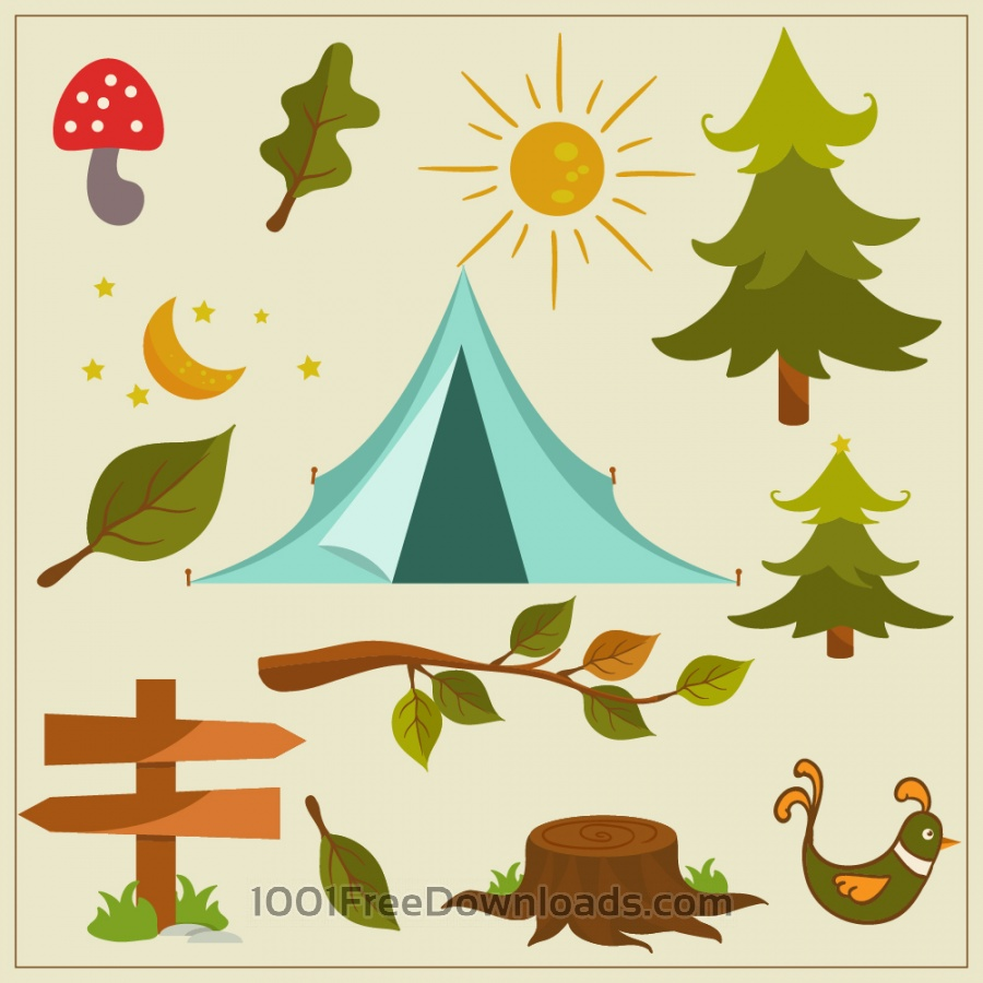 900x900 Free Vectors Nature Camping Vector Elements Flowers