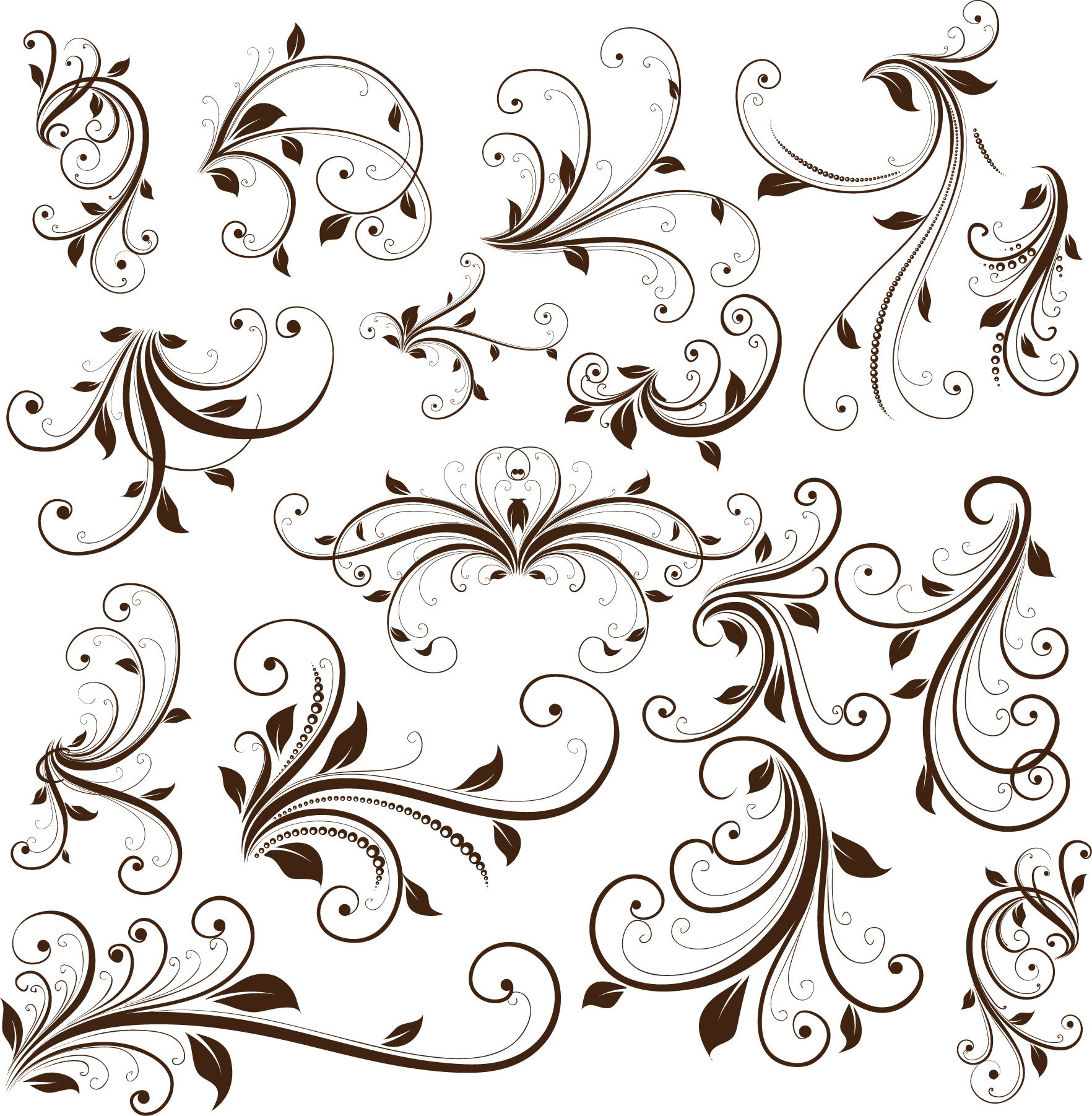 1764x1802 Swirl Floral Decorative Element Vector Graphic Free Vector