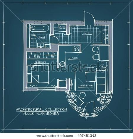 450x470 Floor Plan Blueprint Architectural Vector Blueprint Floor Plan One