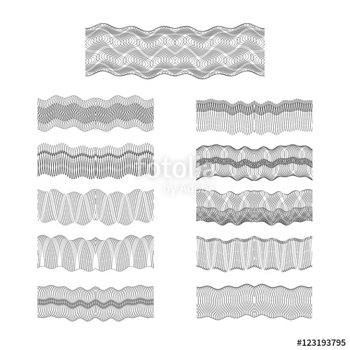 500x500 Guilloche Vector Borders Set Engraving Money Pattern Texture