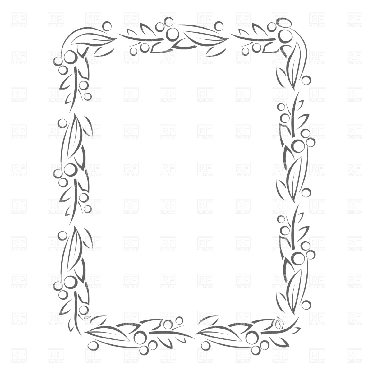 1200x1200 Floral Frame With Leaves And Berries Vector Image Vector Artwork