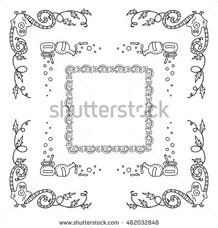 450x470 Vector Halloween Elements Design Square Rectangle Stock Vector
