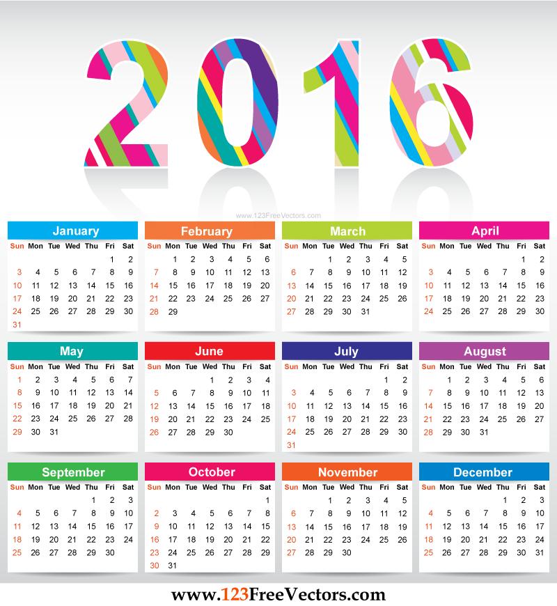 800x870 2016 Calendar Template Vectors Download Free Vector Art