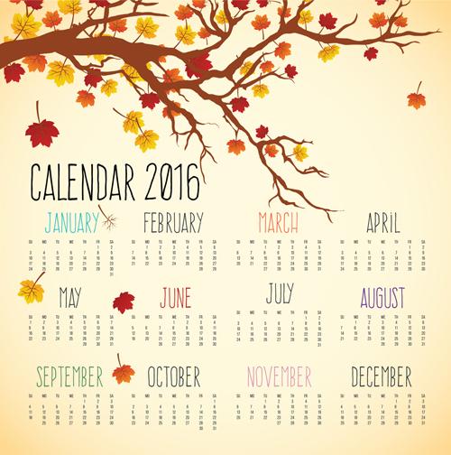 500x504 Autumn Styles Calendar 2016 Vector Free Download