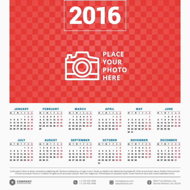 800x800 Calendar 2016 Free Vector Graphic Download