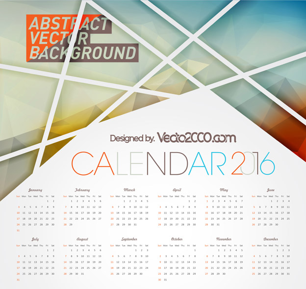 624x589 Calendar 2016 Free Vector For Free Download