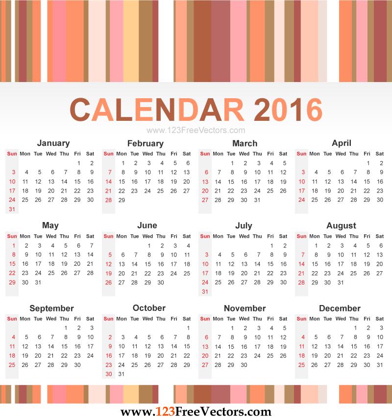 800x855 Calendar 2016 Vector 123freevectors