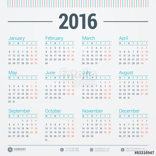 500x500 Calendar 2016 Vector Design Template. Week Starts Monday Stock