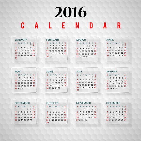 600x600 Calendar 2016 Template Free Vector In Adobe Illustrator Ai ( .ai