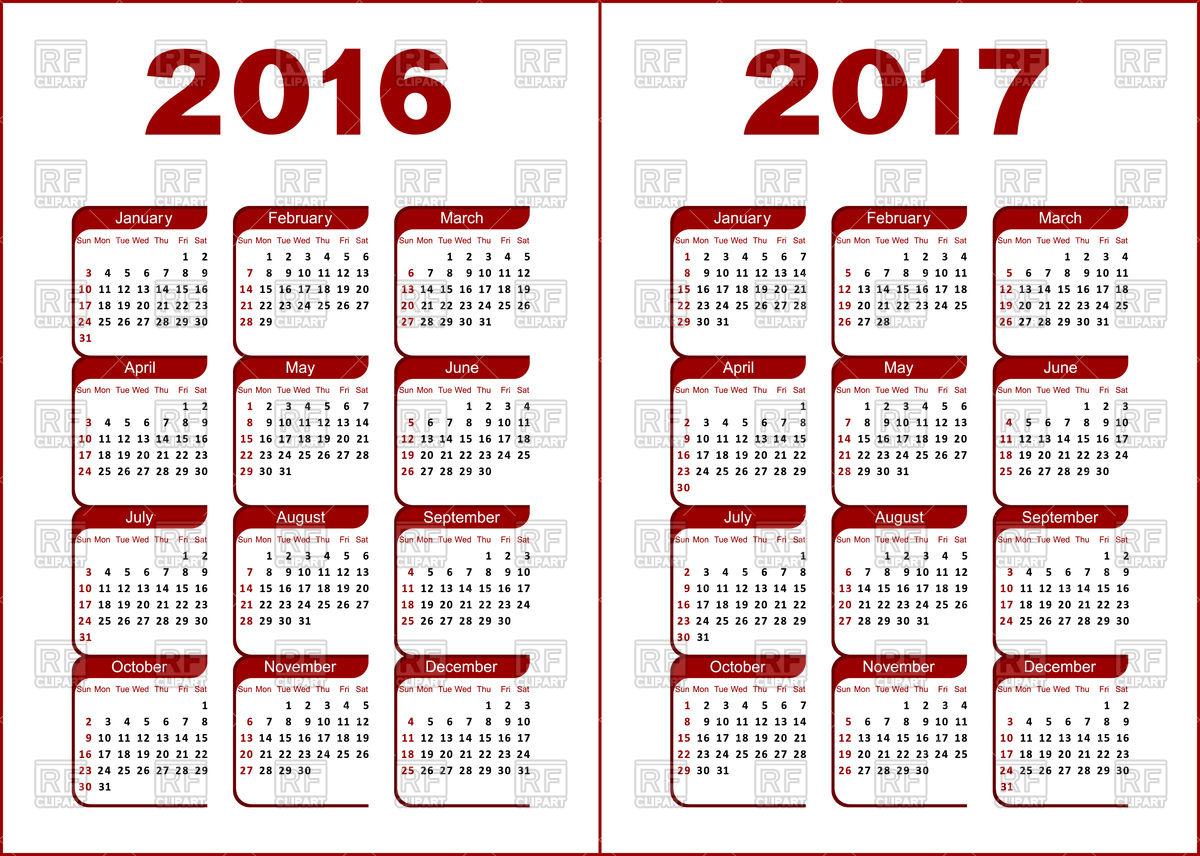 1200x856 Calendar Grid For 2016, 2017 Year Vector Image Vector Artwork Of