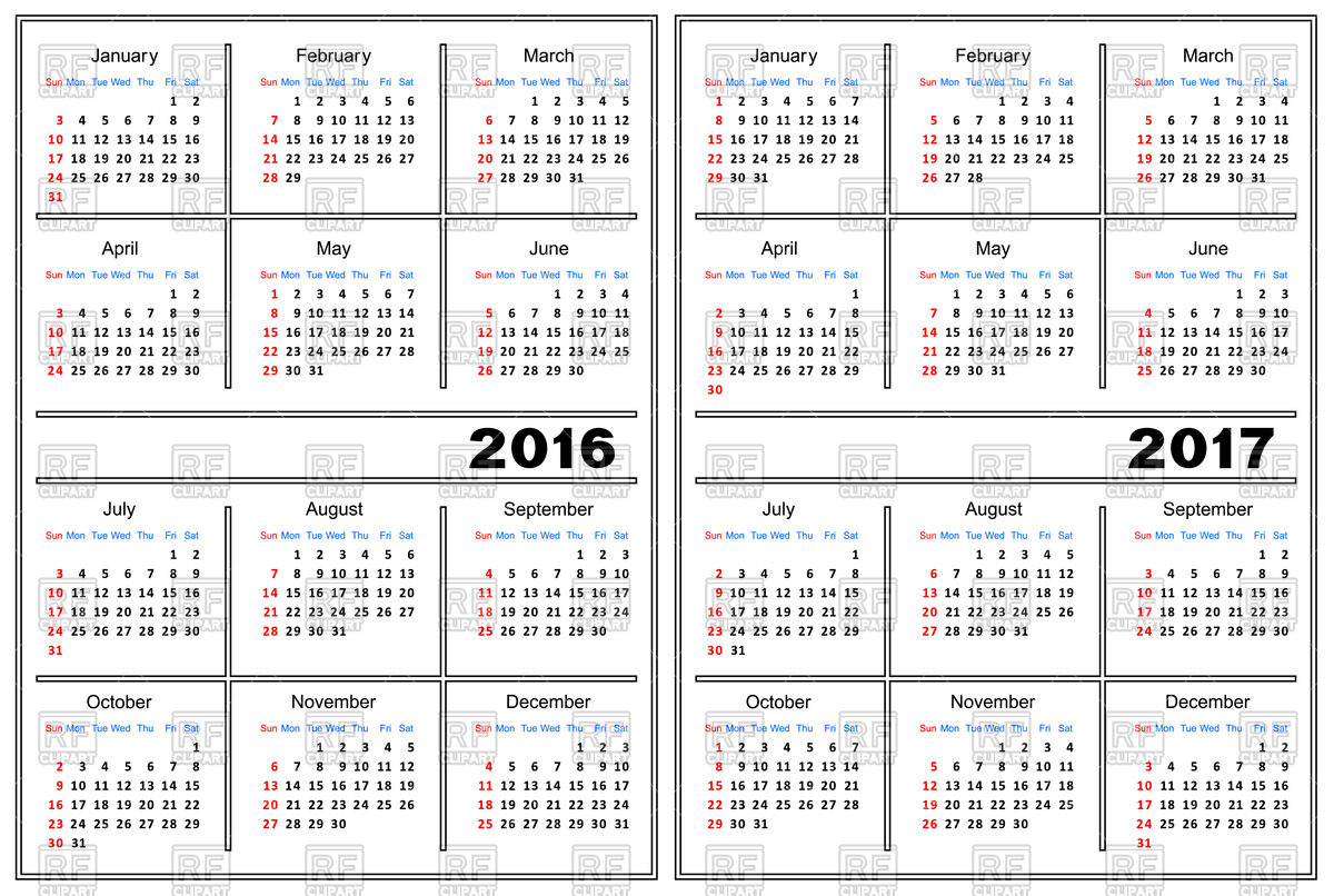 1200x806 Calendar Template 2016, 2017 Vector Image Vector Artwork Of