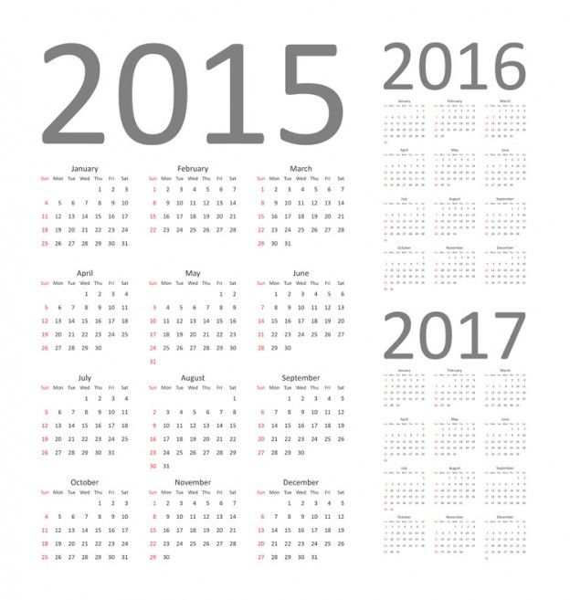 624x657 Download Free Vector Graphics Calendar 2015, 2016 And 2017. Fully