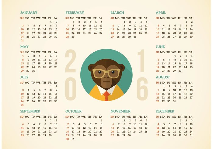 700x490 Free Calendar 2016 With Hipster Monkey Vector 104105