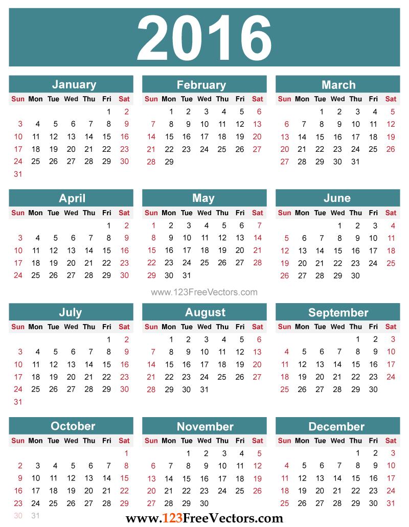 800x1031 Free Editable 2016 Calendar Download Free Vector Art Free Vectors