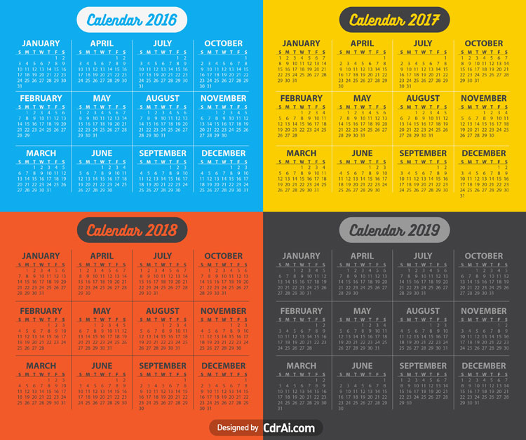 750x628 2016 2017 2018 2019 Calendar Vector Fully Editable Free Vector