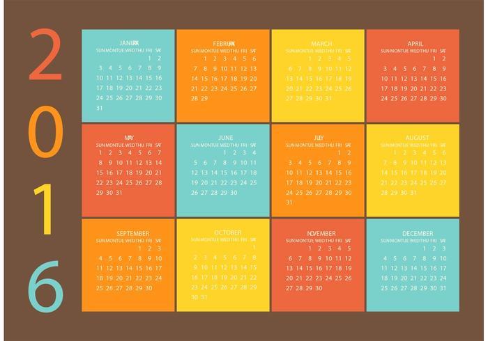 700x490 Free Vector Grid Calendar 2016