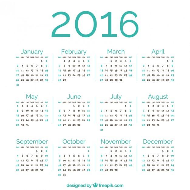626x626 Green 2016 Calendar Vector Free Download