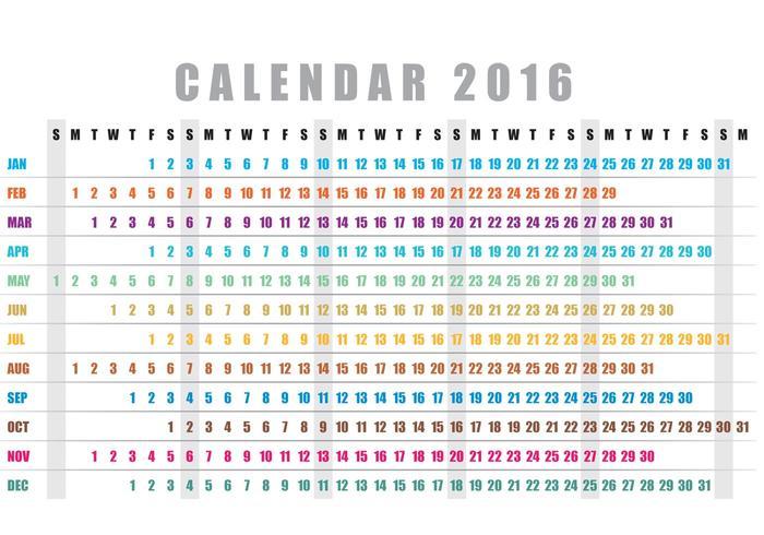 700x490 Horizontal Calendar 2016 Vector