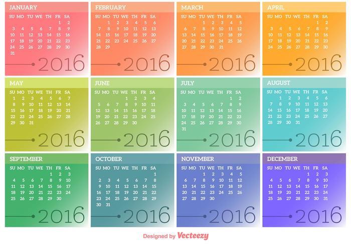 700x490 Vector Calendar 2016