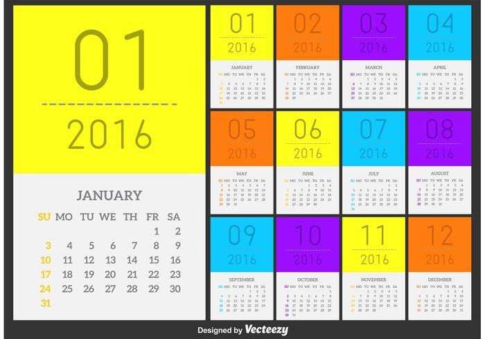 700x490 Vector Calendar 2016 Minimal Style
