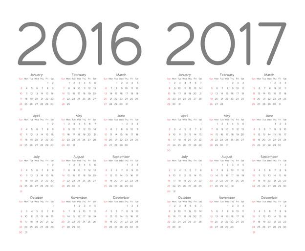 624x514 2016 Calendar Template Vector Free Download