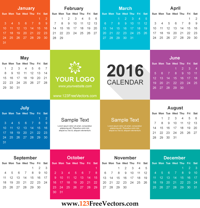 800x835 2016 Calendar Vector Free Download 123freevectors
