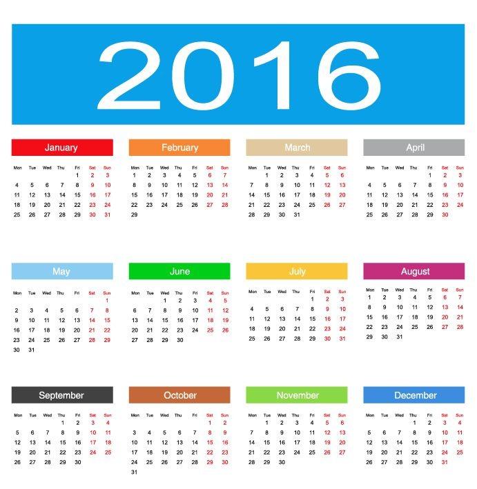 691x709 2016 Calendar Vector Illustration Free Vector Graphics All