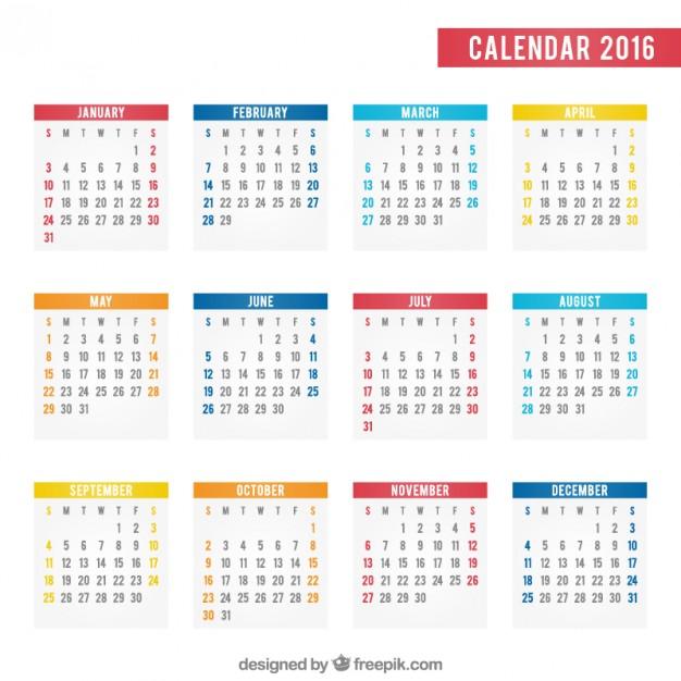 626x626 2016 Calendar Vector Free Download