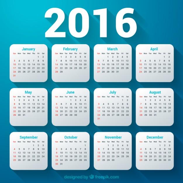626x626 2016 Calendar Template Vector Free Download