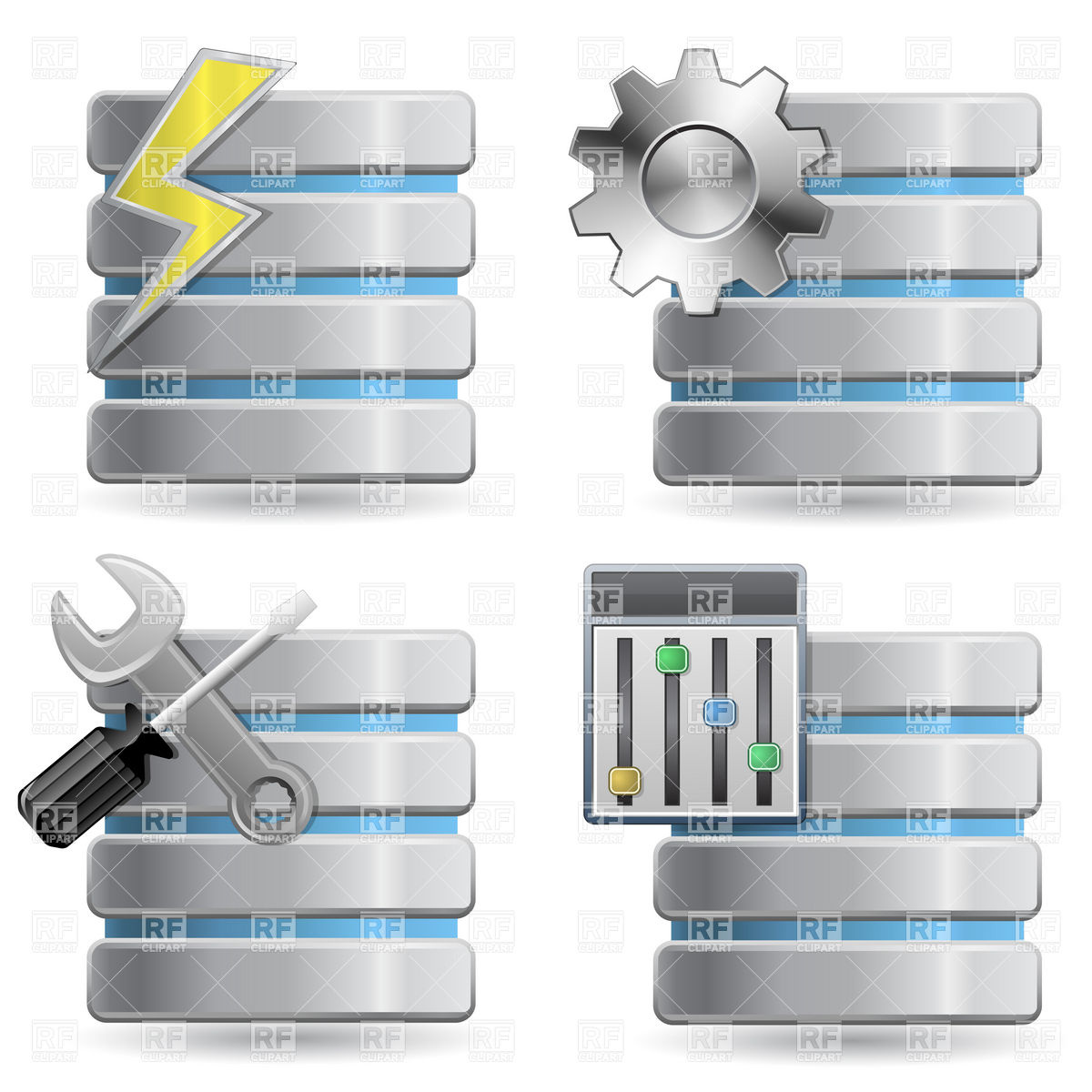 1200x1200 Database And Server Icons Vector Image Vector Artwork Of