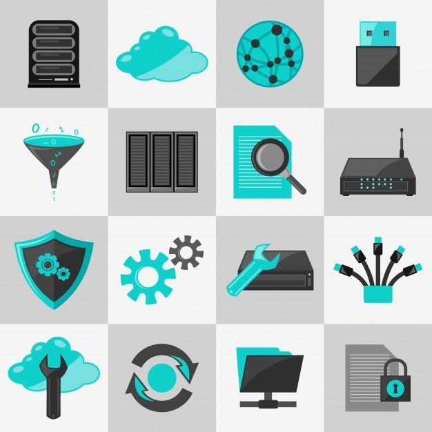 626x626 Database Information Technology Network Management Icons Flat Set